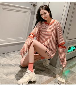 佰润B2013-E档拿货~实拍2019条纹拼色T恤撞色百搭长袖宽松上衣