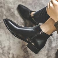 2021春季新款英伦男士高帮皮鞋尖头套脚拉链切尔西短靴发型师潮鞋