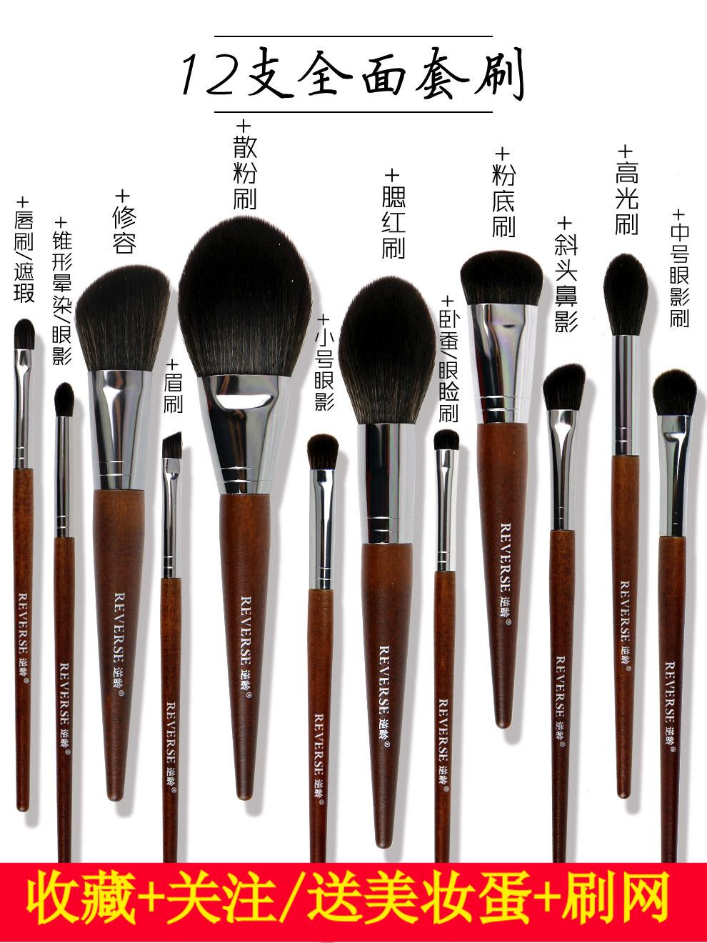 蕾迪诺12支化妆刷套装散粉腮红高光眼影套刷美容化妆粉刷美妆工具