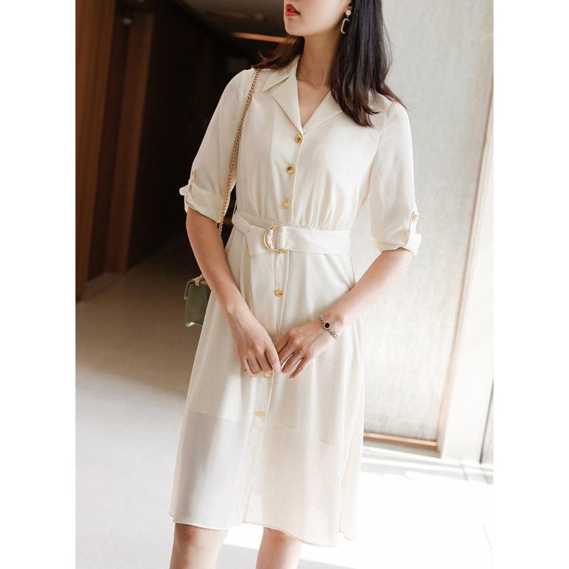 凤舞丝路 2020春法式优雅收腰显瘦连衣裙 纯色七分袖衬衫裙A字裙