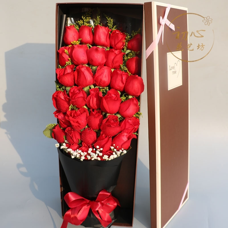 Red rose bunches for Valentines day in the same city