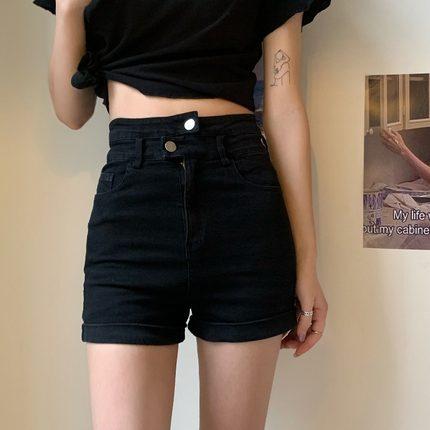 2020年夏季新款黑色高腰显瘦薄款紧身牛仔裤修身超短裤裤子热裤女
