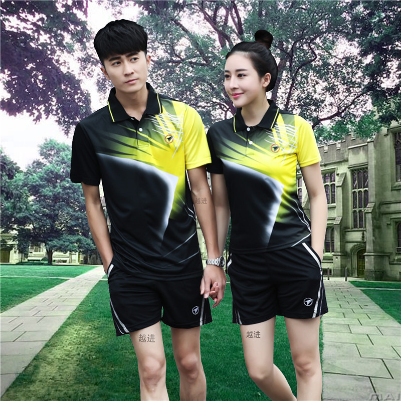 Mens and womens Lapel badminton suit quick drying short sleeve T-shirt fitness sports suit slim table tennis suit competition
