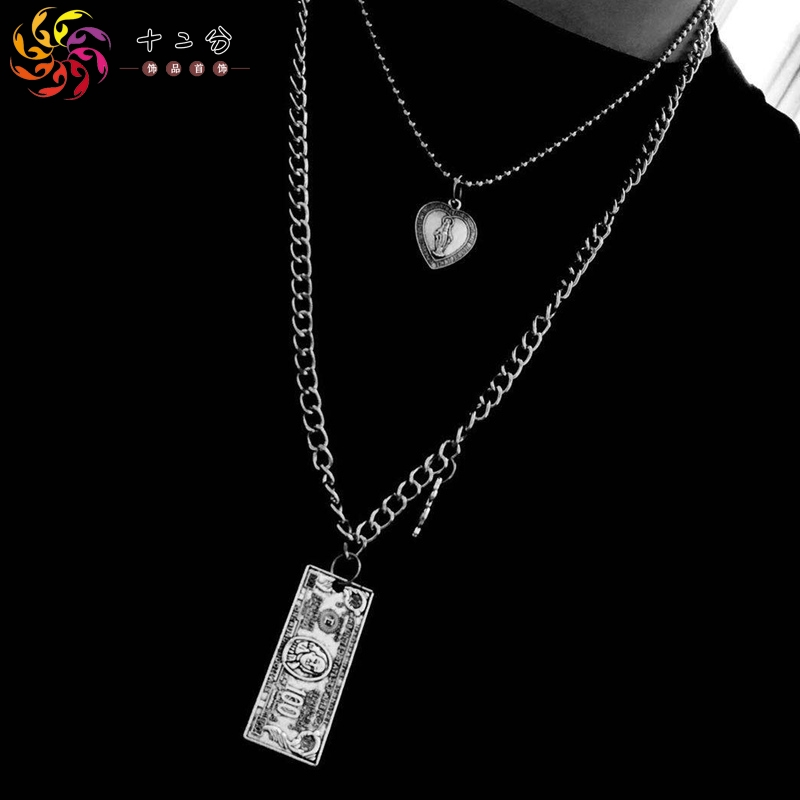 Europe and America trampoline Necklace men and womens street hip-hop pendant multi-layer fashion chain personalized Korean version jewelry