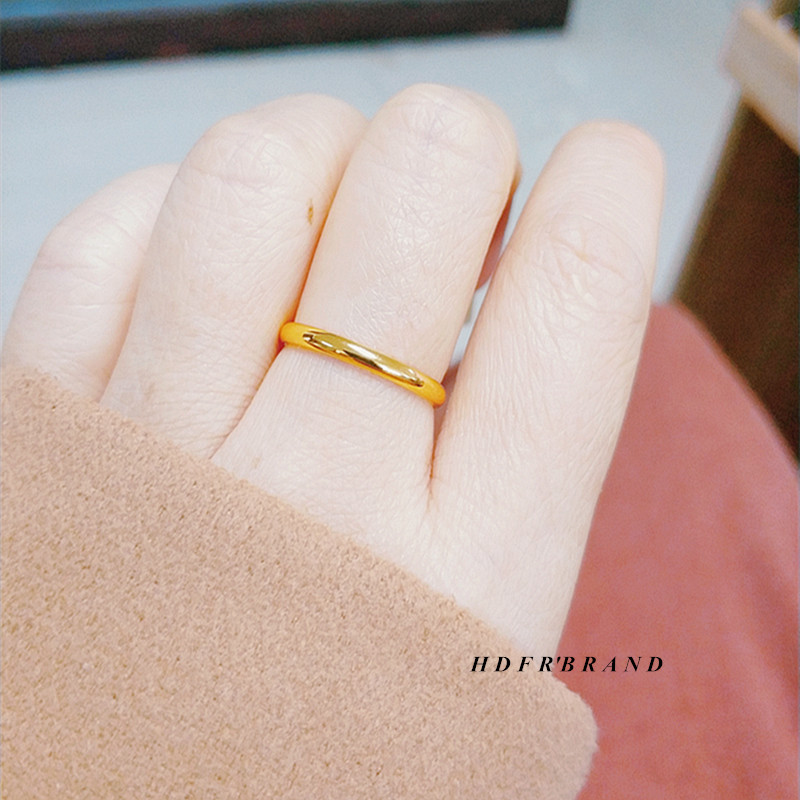 Metal colorfast minimalist 24K gold covered smooth ring female gold tail ring index finger boudoir ring element ring