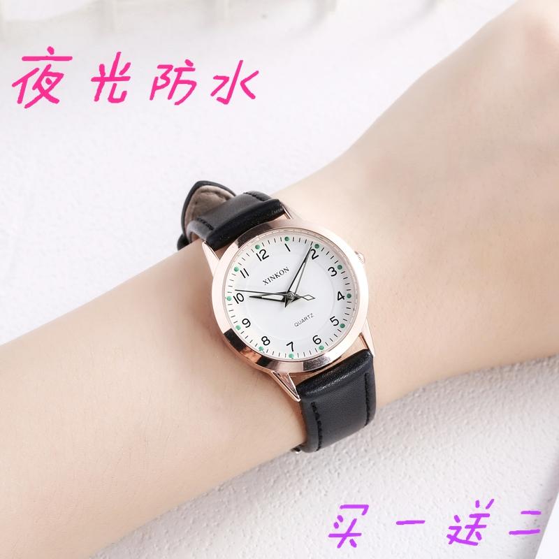 防水皮女装非自动机械表时尚水钻镂空女表夜光皮带百搭女生手表