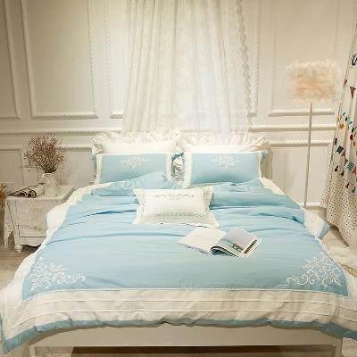 春夏新品欧式刺绣竹纤维四件套1.8m2.0床上用品全棉美式家纺被套