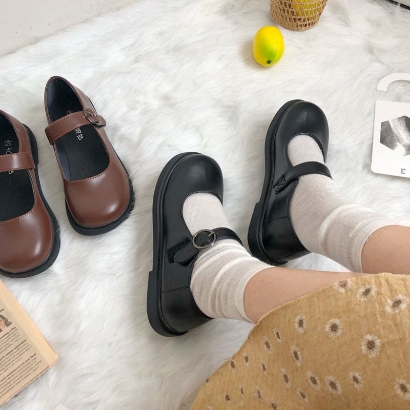 Lovely Korean version with one button and one foot on Lolita shoes student black uniform muffin autumn UK 2020