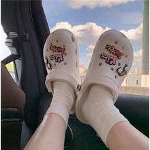 洞洞鞋女夏韩版休闲外穿可爱少女心学生护士厚底防滑包头凉拖鞋