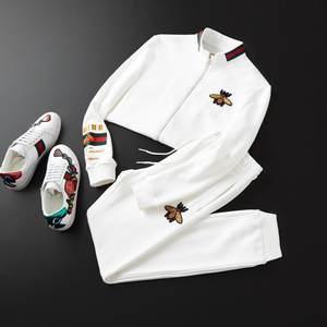 小蜜蜂套装男20春季欧洲站潮长袖立领开衫卫衣休闲跑步运动服长裤