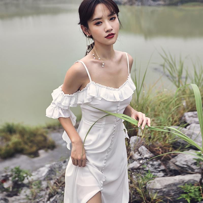 奈良白色沙灘裙女夏吊帶連衣裙荷葉邊波西米亞長裙海邊度假海灘裙