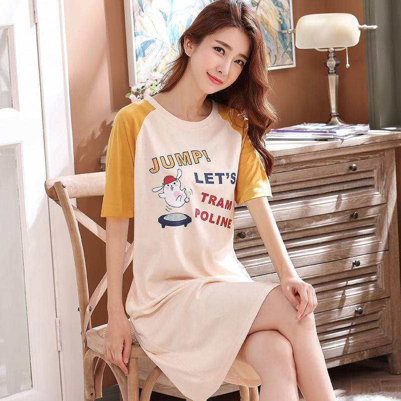 Spring and summer nightdress short sleeve women pure cotton fashion sexy new Korean version sweet loose can wear summer dress