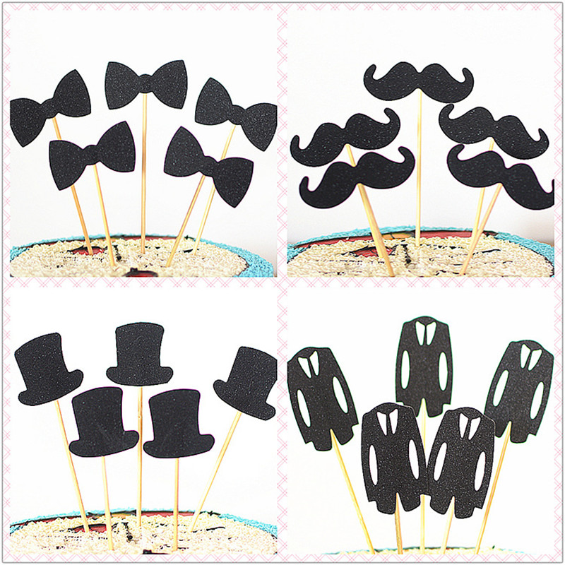 Gentleman suit father man God insert brand birthday cake decoration plug in father bow tie beard Suit Hat