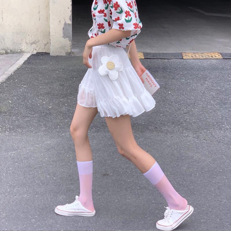 白色小腿袜夏天薄款透明ins潮夏季长jk日系袜子女中筒半筒丝袜短