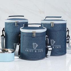 手提饭盒包圆形保温袋便当包铝箔加厚上班族学生带饭大容量手拎筒