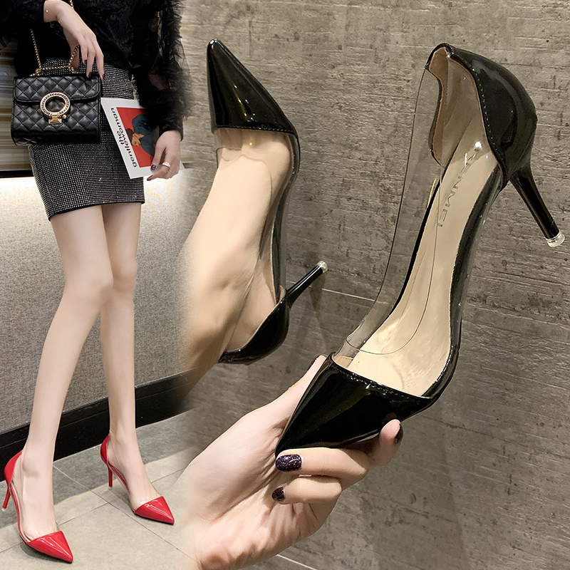 High heeled women 2020 new 8 cm summer slim heels spring soft leather black red sexy pointed party