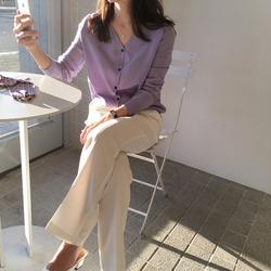 针织衫女开衫紫色高级感2020新款宽松薄款上衣秋冬季长袖毛衣外套