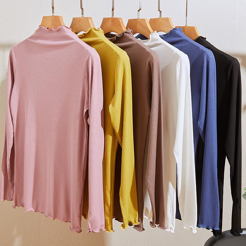 春秋季薄款半高领打底衫莫代尔加厚t恤洋气大码百搭长袖针织衫潮