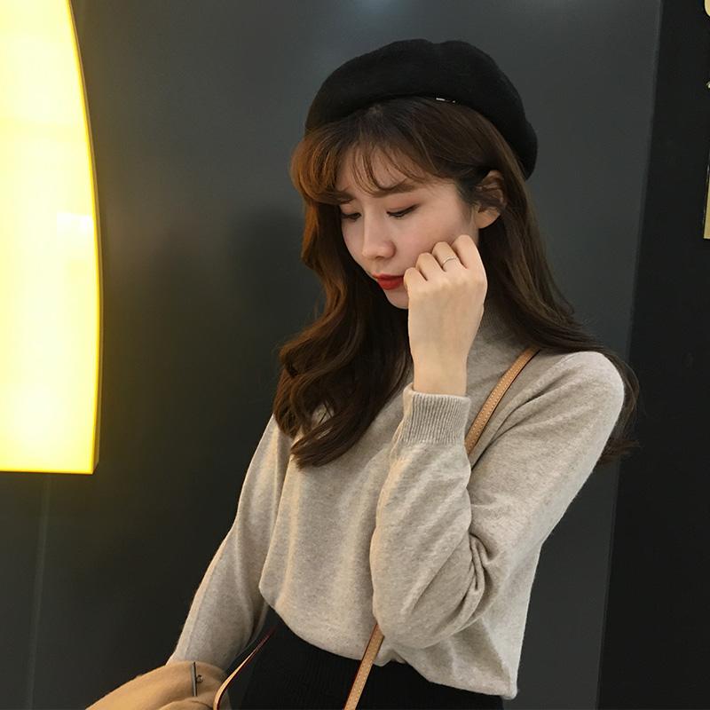 2019春秋韩版简约平板半高领打底衫针织毛衣女纯色上衣羊毛套头