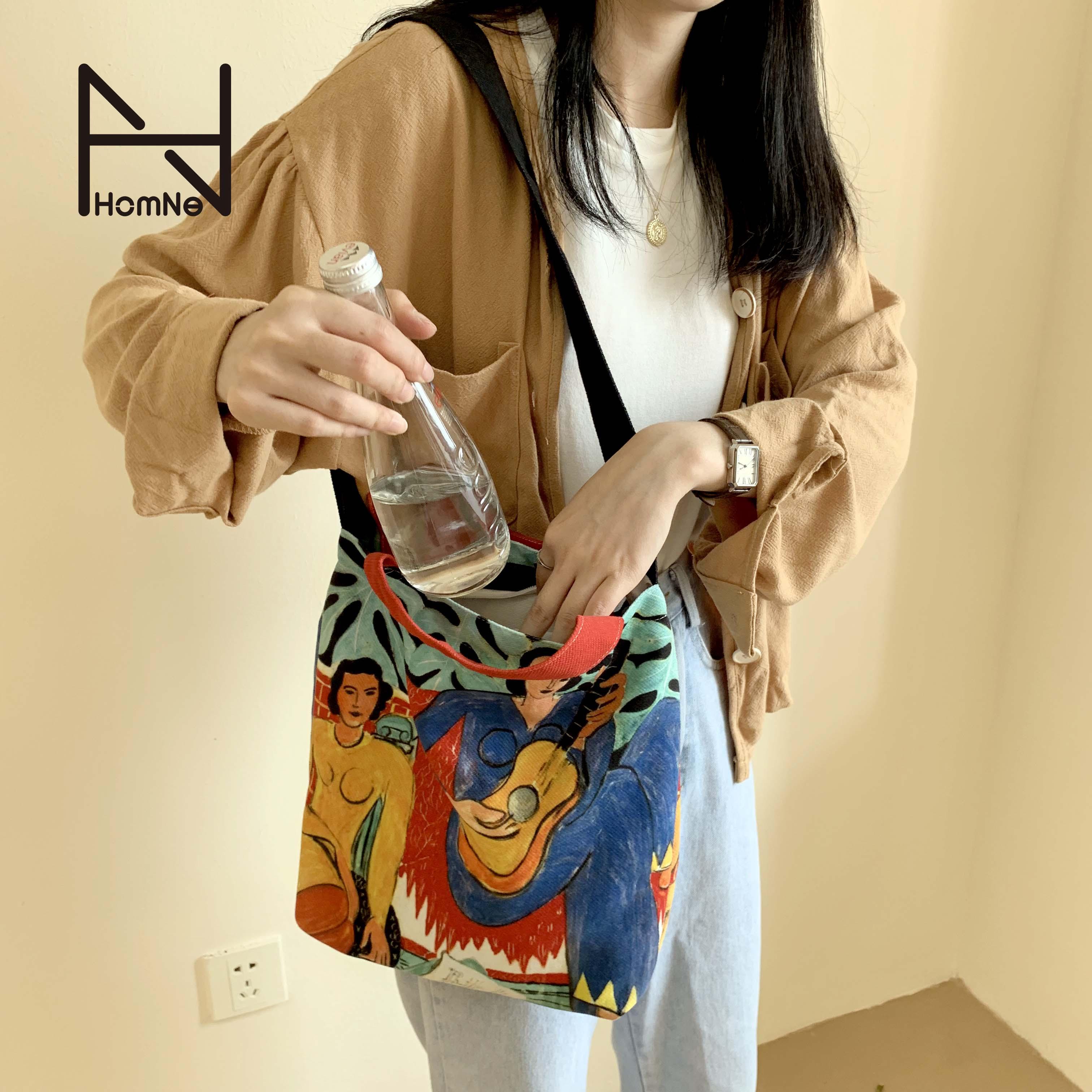 弘娜野兽派艺术家马蒂斯周边单肩手提包小众百搭帆布包包女斜挎hh