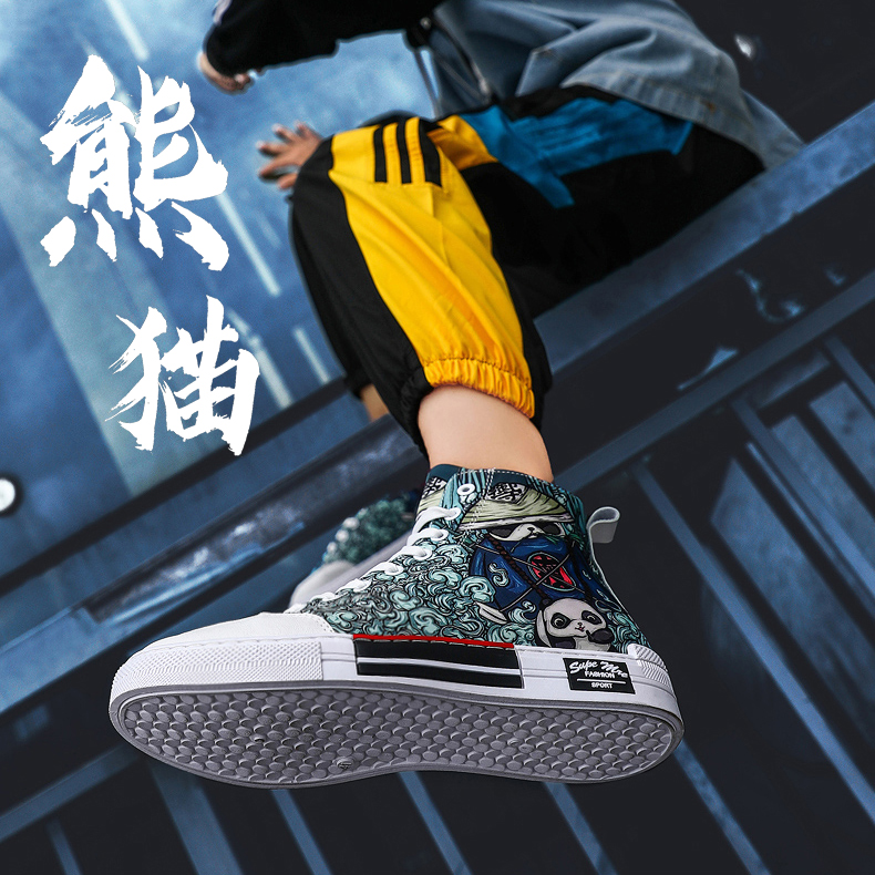 Mens shoes fashion shoes Korean version trend versatile high top canvas shoes mens 2020 new autumn and winter graffiti casual cloth shoes