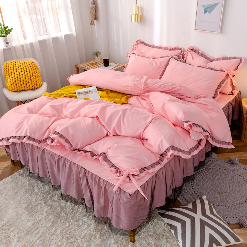 Net red bedding 4-piece bed skirt Korean princess style single double quilt cover lace 4 bedspread