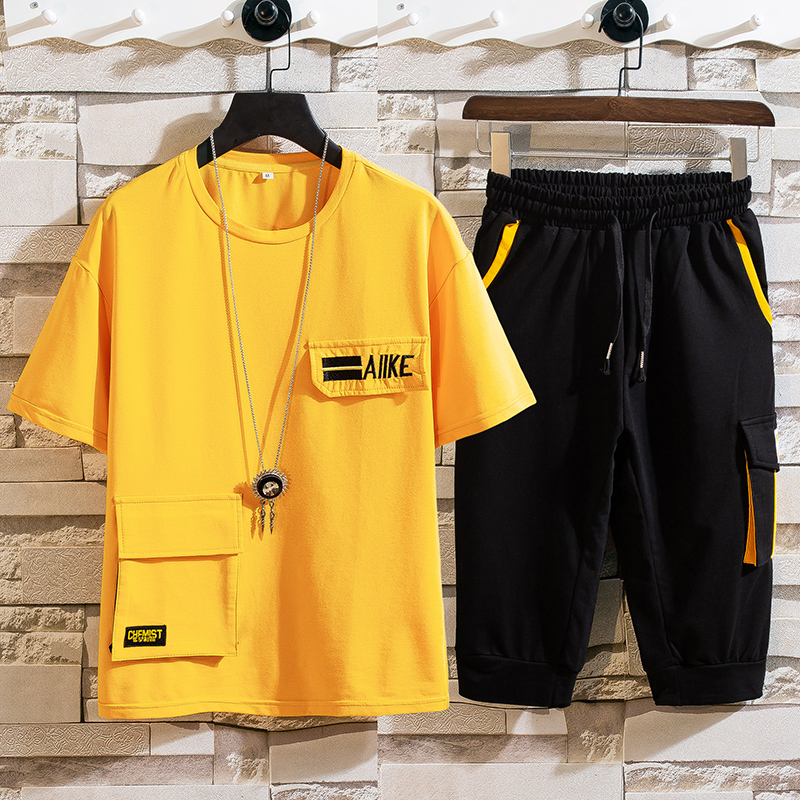 Youth short sleeve T-shirt set 12-15 years old junior middle school students 13 summer sports two-piece SET 17 fat boys clothes