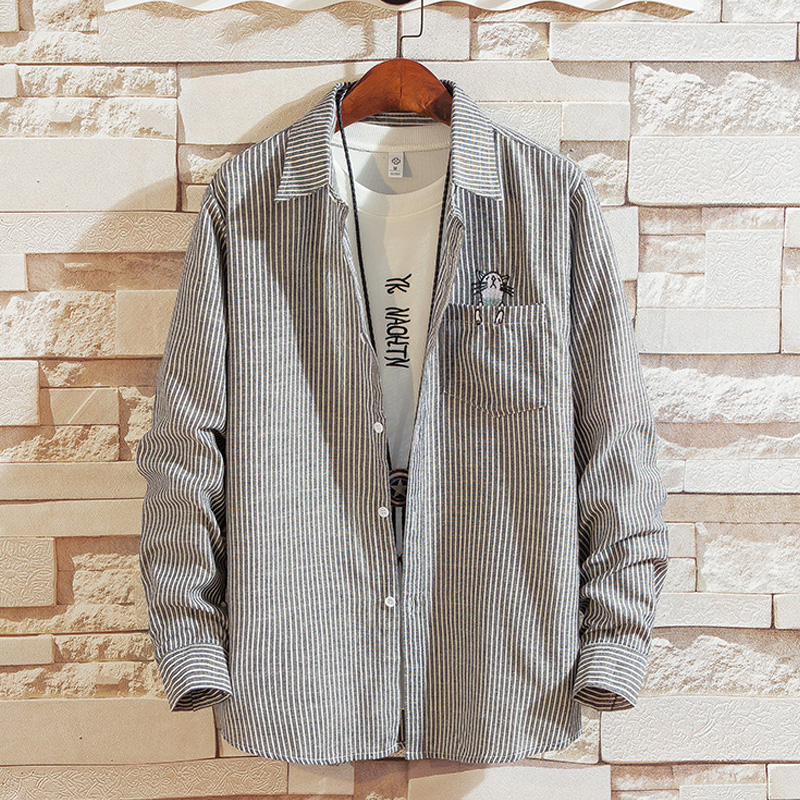 YOUTH LONG SLEEVE SHIRT 13 Stripe Shirt 14-year-old boy 17-year-old spring and autumn cardigan 15 junior high school student 16 top