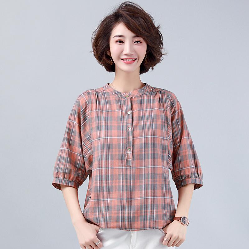 女士衬衫格子2020夏装新款韩版衬衣宽松短袖妈妈装休闲七分袖上衣