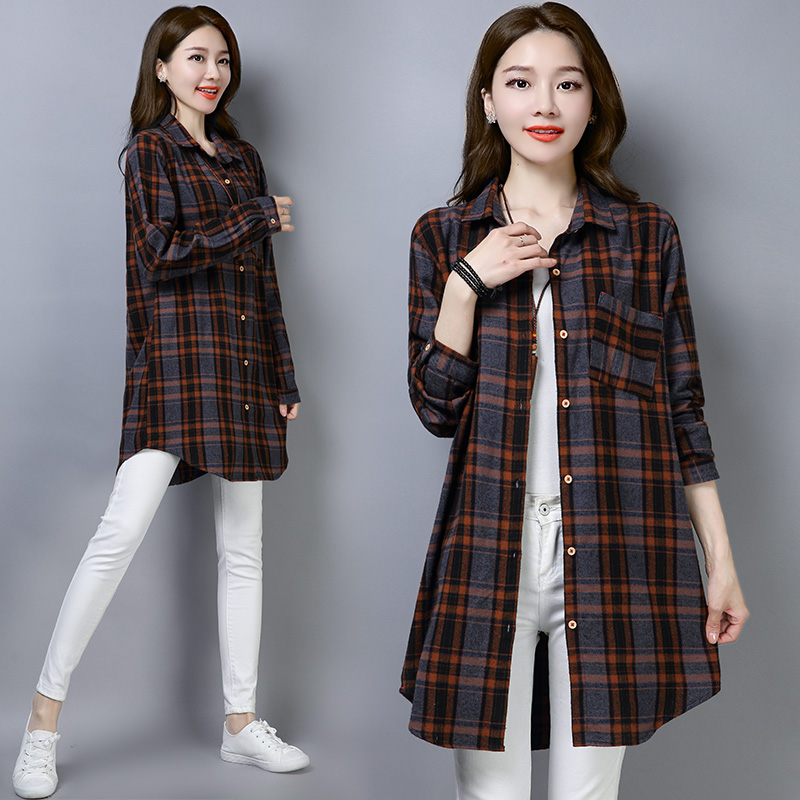 Plaid Shirt womens middle and long style spring 2020 new Korean loose casual large size shirt early spring coat trend