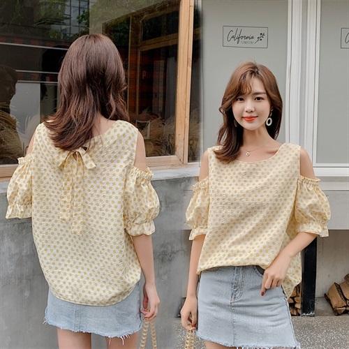 波点衬衫女短袖衬衣宽松夏季设计感小众露肩后背蝴蝶结泡泡袖上衣