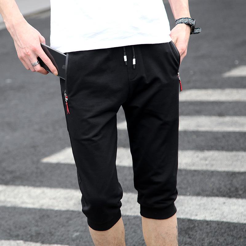夏季纯棉七分裤薄款运动中学生休闲短裤子男士7分裤青少年中裤男