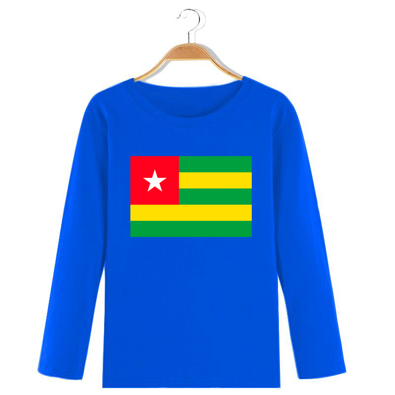 2019 spring and autumn foreign style childrens versatile T-shirt cotton long sleeve loose and comfortable t-shirt with Togolese flag pattern