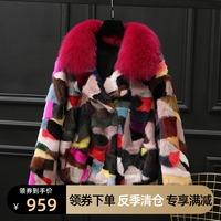 查看水貂皮大衣女皮草外套短款时尚彩色块拼貂毛2020冬季新款狐狸毛领价格