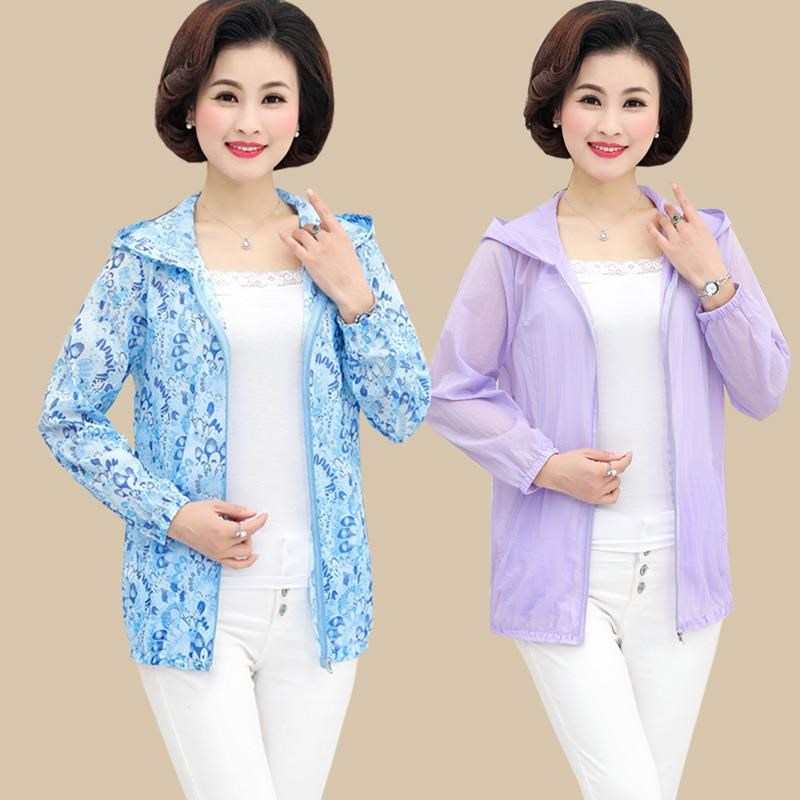 Moms summer breathable clothes sunscreen middle aged and elderly womens short sunshade coat large anti ultraviolet breathable clothing