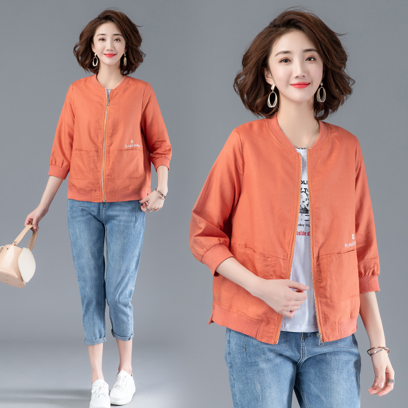 Mothers short coat womens summer thin casual middle-aged womens Linen top cardigan linen cotton jacket