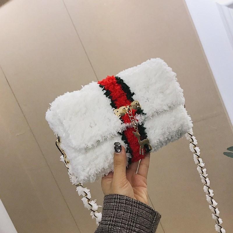 斜跨织包包编织送女友长方形搭扣女士手提绒包时尚女性材料女包毛