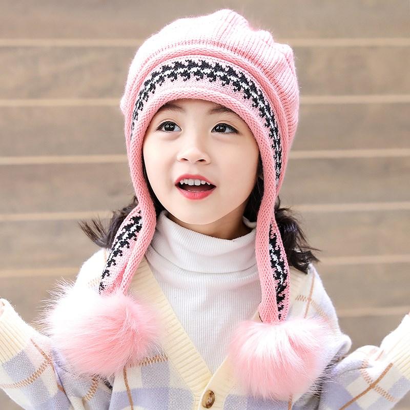 宝宝冬季帽子围巾儿童毛绒加厚男女8中大童小学生6-12岁三件套装