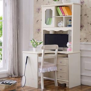 带桌书桌韩式组合一体学生书架田园书柜书桌转角写字台欧式电脑桌