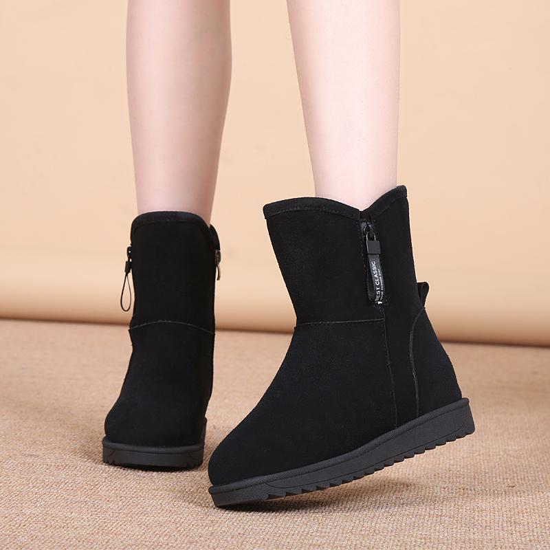 经典时尚舒适防水防滑女靴子2018新款冬季雪地靴平底中筒加绒加厚