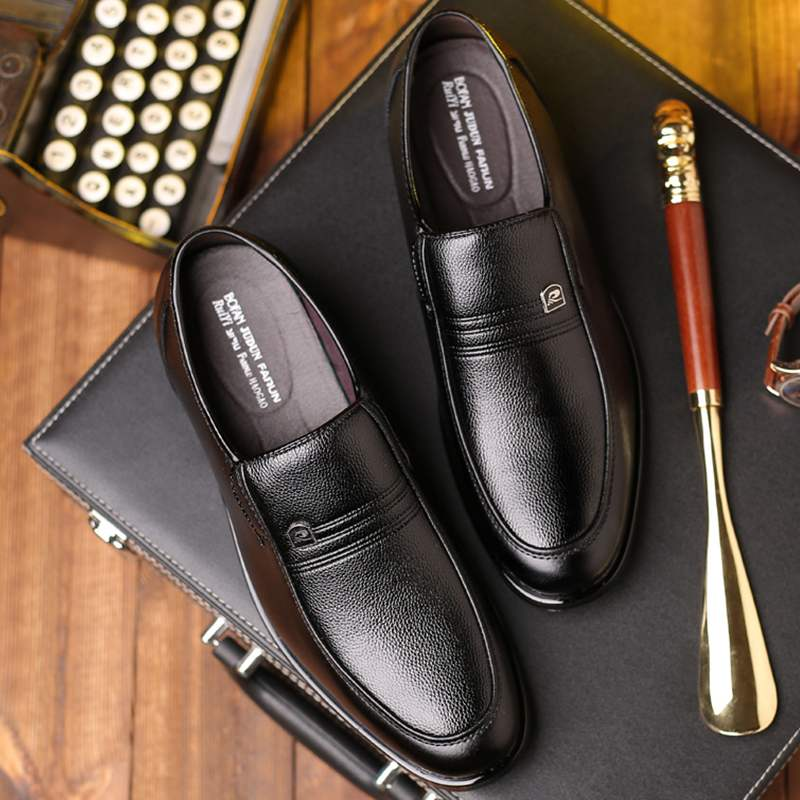 Kangnai business mens leather shoes authentic mens middle aged mens leather formal wear casual old age soft soled Leather Mens shoes
