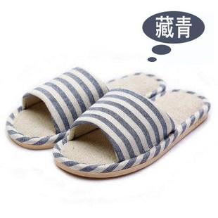 卧室家居室内条纹厚底秋冬亚麻拖鞋