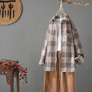 森唐狮春季新款毛呢衬衫女装长袖宽松休闲磨毛格子外套韩版百搭呢