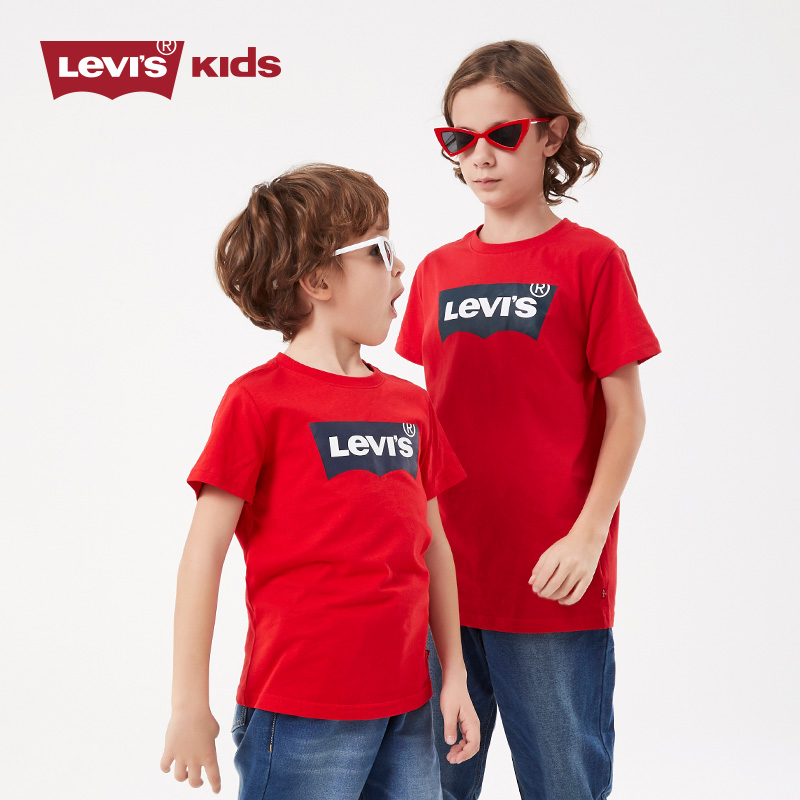 Levis Levis Levis Children's Wear 2019 New Fashion Short Sleeve T-shirt Printed Top for Boys and Girls