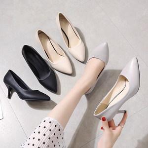 工作鞋女黑色空乘高跟鞋百搭皮鞋