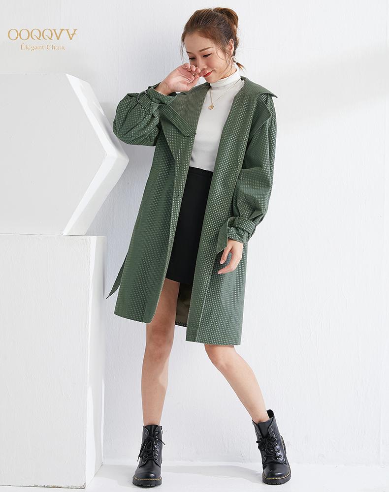 OOQQVV原创设计师英伦绿色风衣中长款小个子宽松2019年秋长袖个性