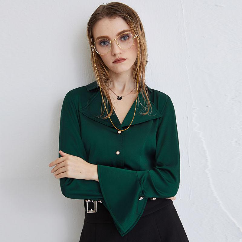三酢酸Vネック通勤シャツ女性港味気質純色2021年新型早春フレンチ復古長袖