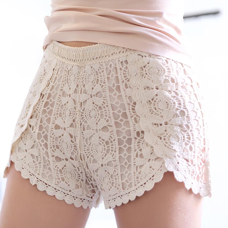 蕾丝打底短裤