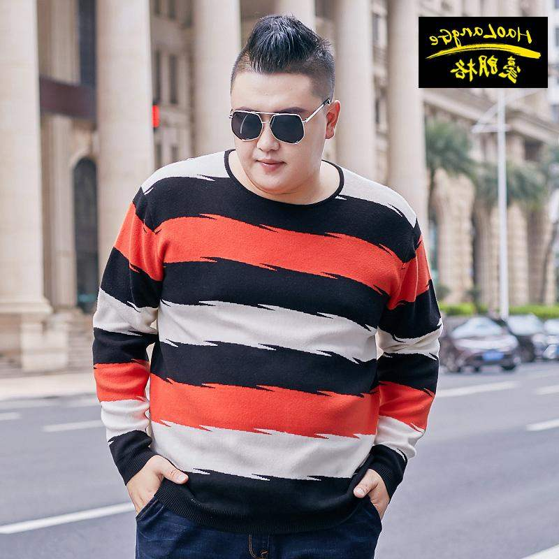 High grade brand fat mens fat plus plus size autumn round neck sweater fat man oversize loose knit shirt