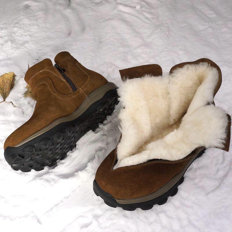 雪地靴男皮毛一体冬季保暖加绒东北加厚防水防滑真皮男士户外棉鞋